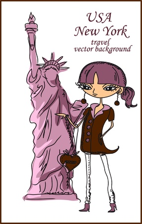 Fashion Girl Cartoon viaja por el mundo