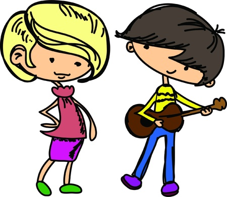 cartoon drawings of fashionable children stock vector 15758826 - Cartoon Drawings Of Children