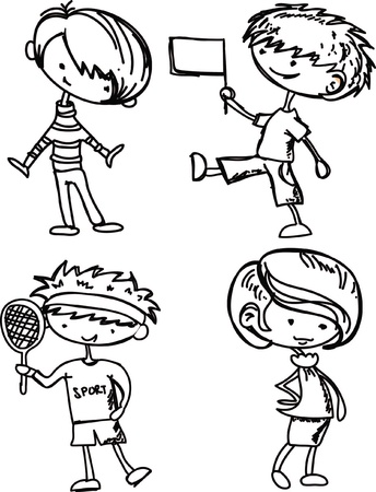 cartoon drawings of fashionable children vector