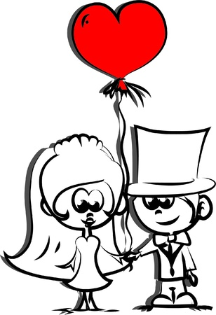 bride and groom: Set of wedding pictures, bride and groom in love Illustration