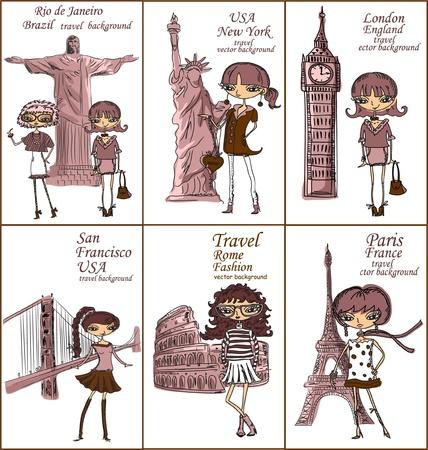 london tower bridge: Fashion Cartoon Girl travels the world