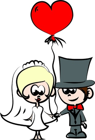 bride cartoon: Set of wedding pictures, bride and groom in love Illustration