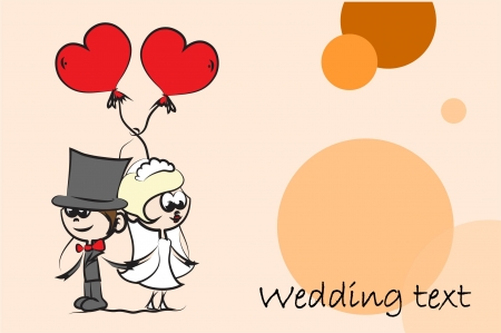 air kiss: Set of wedding pictures, bride and groom in love Illustration