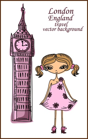 new england: Fashion Cartoon Girl travels the world, vector background  Illustration