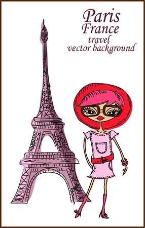 Fashion Cartoon Girl travels the world, vector background Stock Vector - 15913261