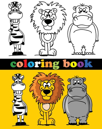 Coloring book of animals Vector