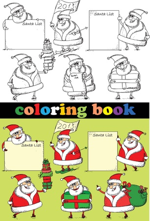Coloring book of Santa Claus Vector