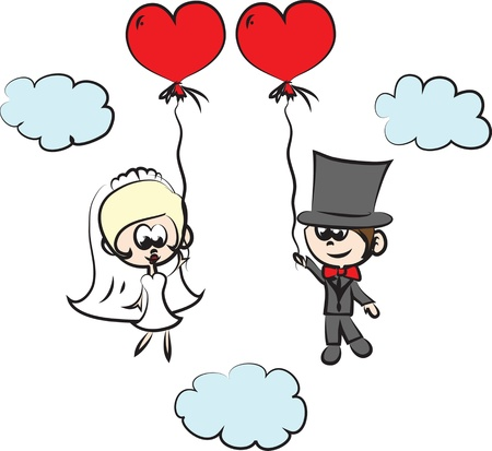 newlyweds: cartoon wedding pictures