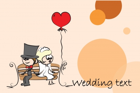 Cartoon wedding picture, background Vector