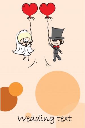 cartoon wedding couple: Cartoon wedding picture, background