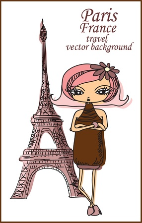 Cartoon fashionable girls, background  Stock Vector - 16082308