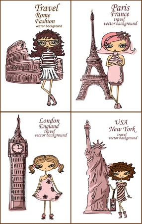 pisa tower: Cartoon fashionable girls, background  Illustration