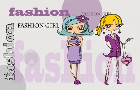 Cartoon fashionable girls, background  Vector