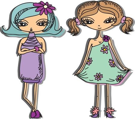 girl boots: Cartoon fashionable girls  Illustration