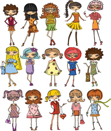 Cartoon fashionable girls, vector  Vector