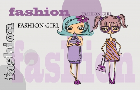 shopping cartoon: Cartoon fashionable girls, vector background