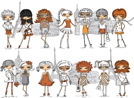 Cartoon fashionable girls, vector background  Vector