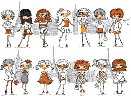 ankleiden: Cartoon modische M�dchen, Vektor-Hintergrund