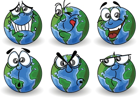 cartoon world: Cartoon Globe with emotions