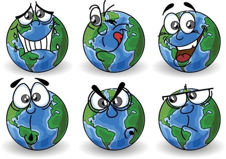 planeta tierra feliz: Cartoon Globo con emociones