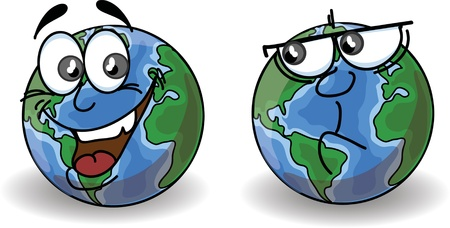 Cartoon Globe with emotions  Vector