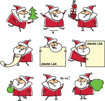 red beard: Cartoon Santa, background  Illustration
