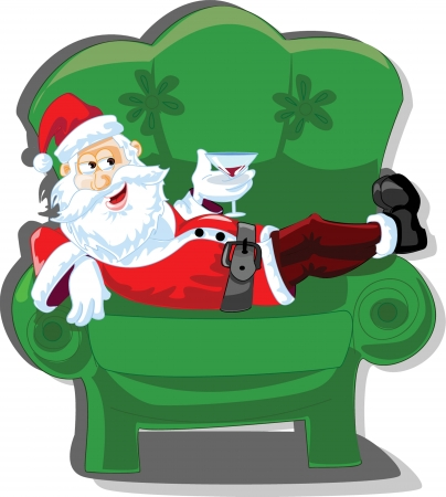 Cartoon Santa, background  Vector