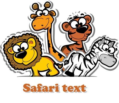 Vector background with cute safari animal  Illustration