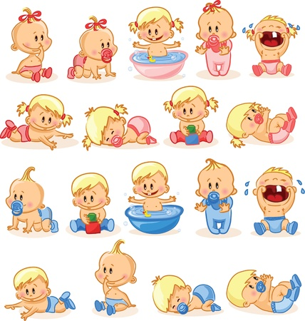 crying child: Vector illustration of baby boys and baby girls  Illustration