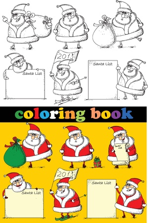 Coloring book of Santa Claus , vector  Vector