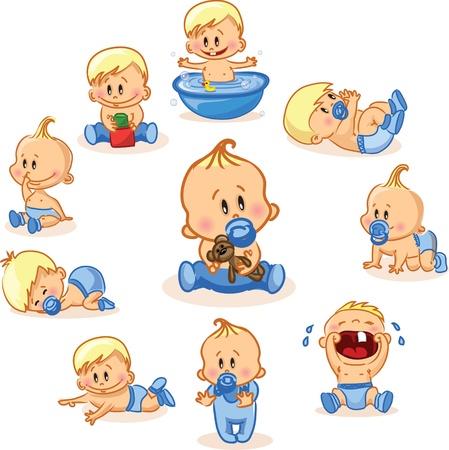 nacimiento bebe: Ilustraci�n vectorial de los beb�s varones Vectores