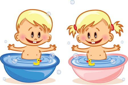 Vector illustration of baby boy and baby girl  Vector