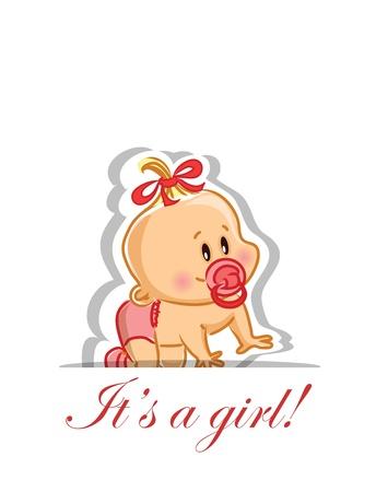cochecito de bebe: Ilustraci�n vectorial de ni�a