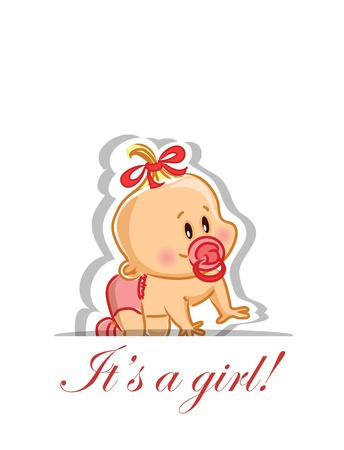 Vector illustration of baby girl  Vector