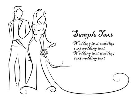 marido y mujer: Silueta de la novia y el novio, fondo