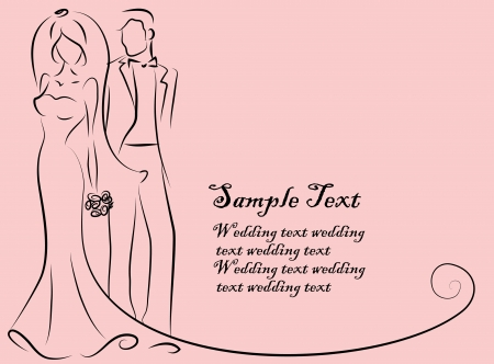 bridal veil: Silhouette of bride and groom, background