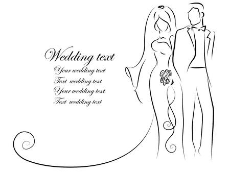 Silueta de la novia y el novio, fondo Foto de archivo - 16408327