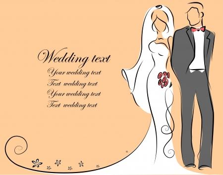 Silhouette de mariée et le marié, fond