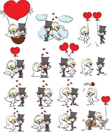 wedding couple: Cartoon wedding pictures