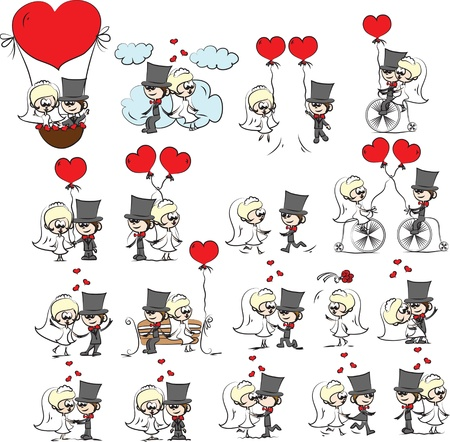 love story: Cartoon wedding pictures