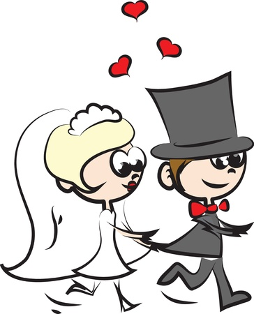 newlywed couple: Cartoon wedding pictures