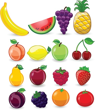 Cartoon fruits and vegetables 向量圖像