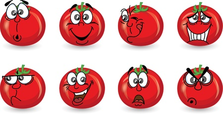 Cartoon tomato with emotions