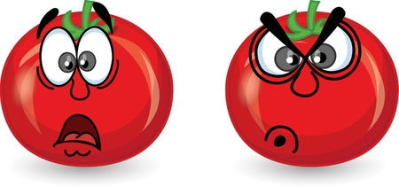 Cartoon tomato with emotions  Vector