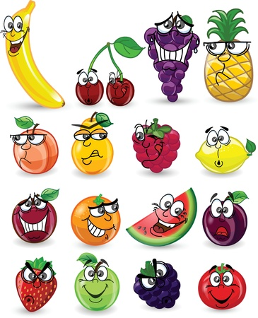 tomato juice: Cartoon fruits and vegetables with emotions