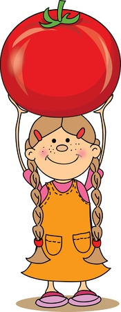 Cartoon girl with tomato  Vector