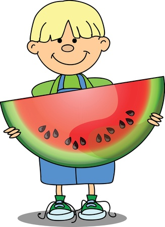 Cartoon boy with watermelon Stock Vector - 16688292