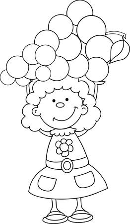 Cartoon girl with grape Stock Vector - 16688283