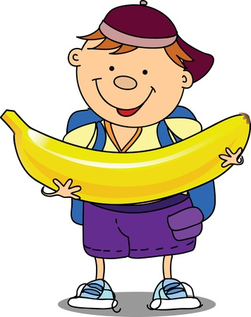 Cartoon boy with banana  Vector