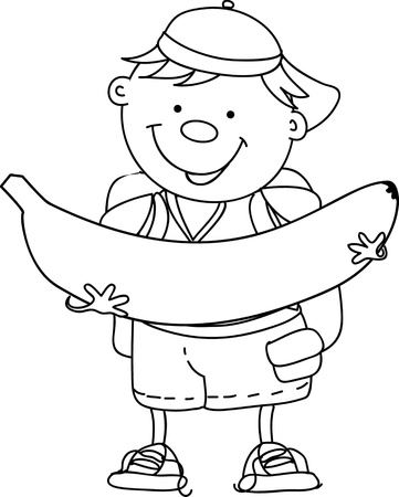 Cartoon boy with banana Stock Vector - 16688271